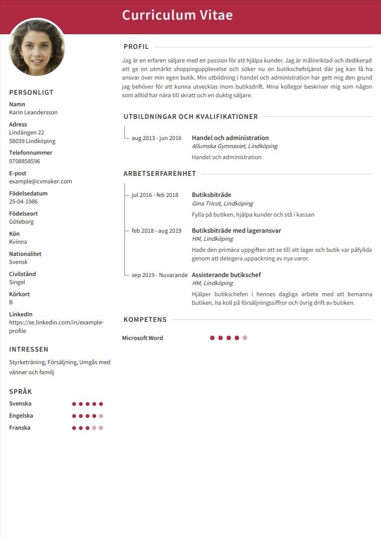 CV exempel – Butiksbiträde