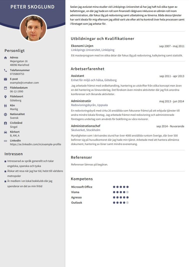 CV exempel – Assistant
